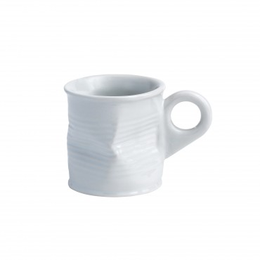 Squashed Tin Can Espresso shot Mug White 2.5oz