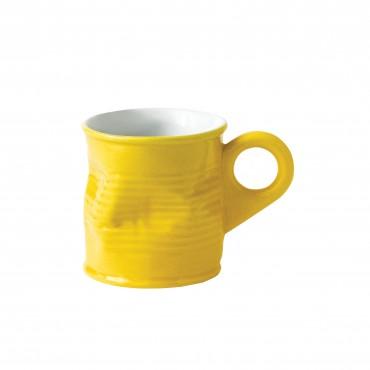 Squashed Tin Can Espresso Shot Mug Yellow 2.5oz